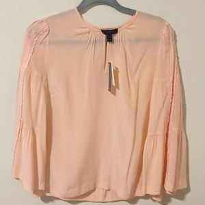 J.Crew Petite Embroidered Bell-Sleeve Silk Top